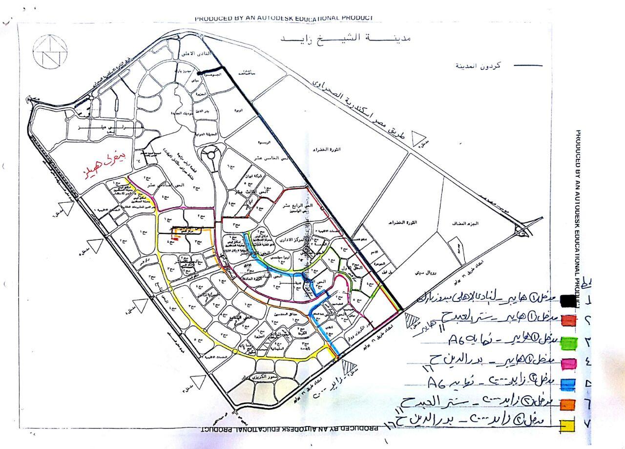 على الخريطة ننفرد بنشر خطوط السير الجديدة للنقل الداخلي بمدينة الشيخ زايد